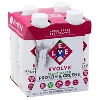 Evolve Protein & Greens, Mixed Berry Beet Flavor, 4 Pack