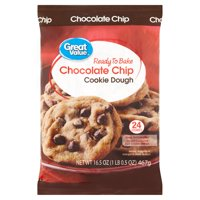Great Value Chocolate Chip Cookie Dough, 16.5 oz, 24 Count
