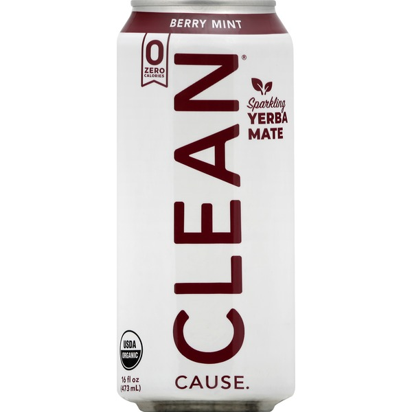 Clean Cause Yerba Mate, Berry Mint, Sparkling