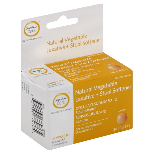 Signature Laxative + Stool Softener, Natural Vegetable, Tablets