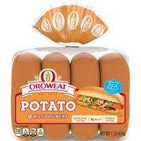 Oroweat Country Potato Hot Dog Rolls, Rich & Hearty, 8 Buns, 16 oz
