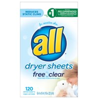 all Fabric Softener Dryer Sheets Free Clear for Sensitive Skin, 120 Count