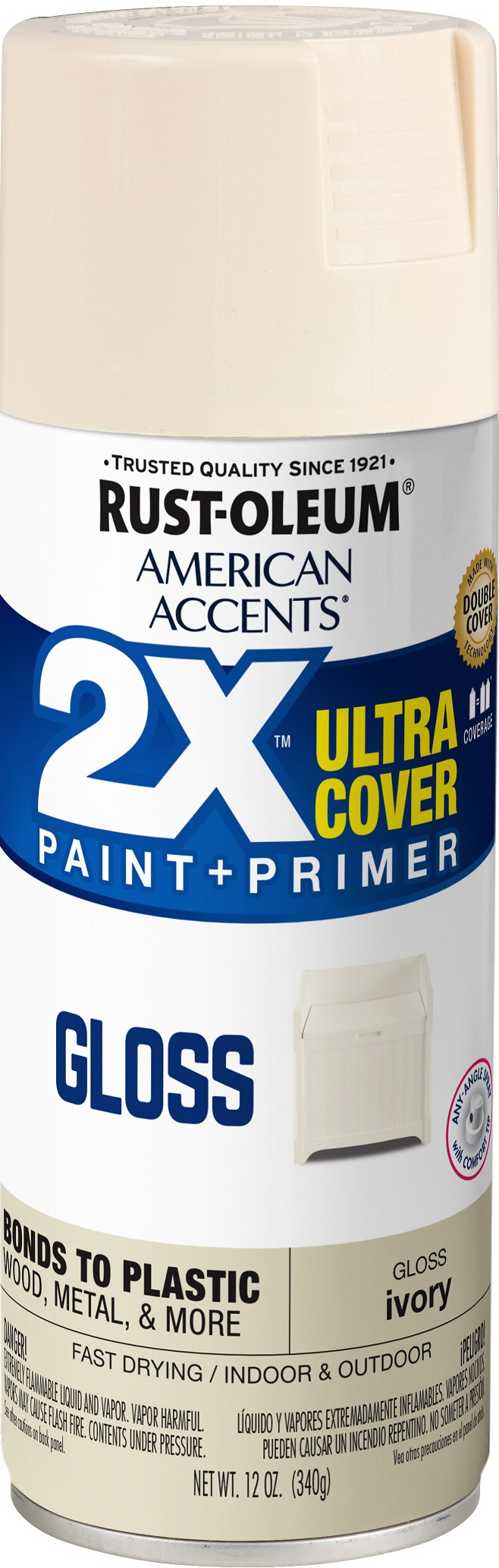(3 Pack) Rust-Oleum American Accents Ultra Cover 2X Gloss Ivory Spray Paint and Primer in 1, 12 oz