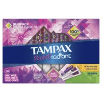 TAMPAX Pocket Radiant Duopack, Regular/Super, Compact Plastic Tampons, Unscented, 28 Count