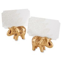 12ct Lucky Golden Elephant Placecard Holders - Gold