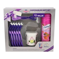 Schick Quattro YOU Holiday Gift Set including 6 Razors, 1 Shave Gel, and Makeup Remover Pads