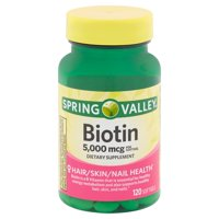 Spring Valley Biotin Softgels, 5,000 mcg, 120 count
