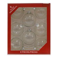 Holiday Time Clear Glass Ornaments, 8 count