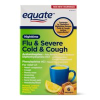 Equate Nighttime Severe Cold, Cough & Flu, Temporarily Relieves Nasal Congestion, Cough, Runny Nose, Sneezing, Body Ache, Sore Throat Pain, Headache, Fever ,6 Ct