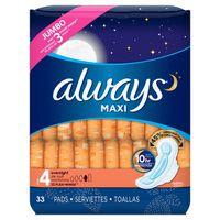 Always Maxi Size Overnight Pads With Wings