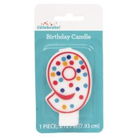 Polka Dot Number 9 Birthday Candle
