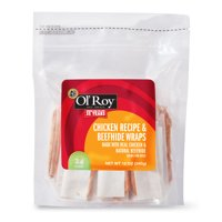 Ol' Roy Chicken Recipe & Beefhide Wraps Chews for Dogs, 12 oz, 24 Count