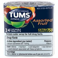 Tums Antacid/Calcium Supplement, Extra Strength 750, Chewable Tablets, Assorted Fruit