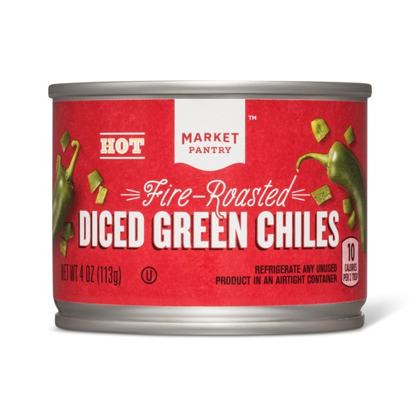 Hot Fire Roasted Diced Green Chiles 4oz - Market Pantry™