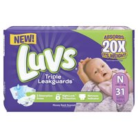 Luvs Triple Leakguards Diapers Size N 31 Count