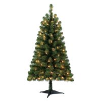 Holiday Time Pre-Lit 4' Indiana Spruce Green Artificial Christmas Tree, Clear-Lights