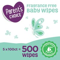 Parent's Choice Fragrance Free Baby Wipes, 5 Flip-Top Packs (500 Total Count)