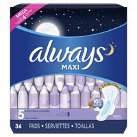 ALWAYS Maxi Size 5 Extra Heavy Overnight Pads With Wings Unscented, 36 Count