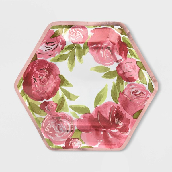 "20ct 9"" Hexagon Floral Metallic Dinner Plate - Spritz™"