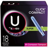 U by Kotex Click Compact Tampons, Super Absorbency, Unscented, 18 Ct