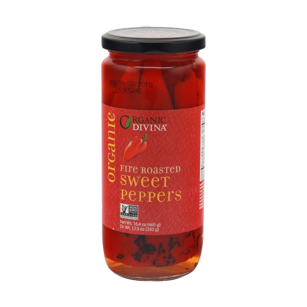 Divina Organic Fire Roasted Sweet Peppers, 16.4 oz