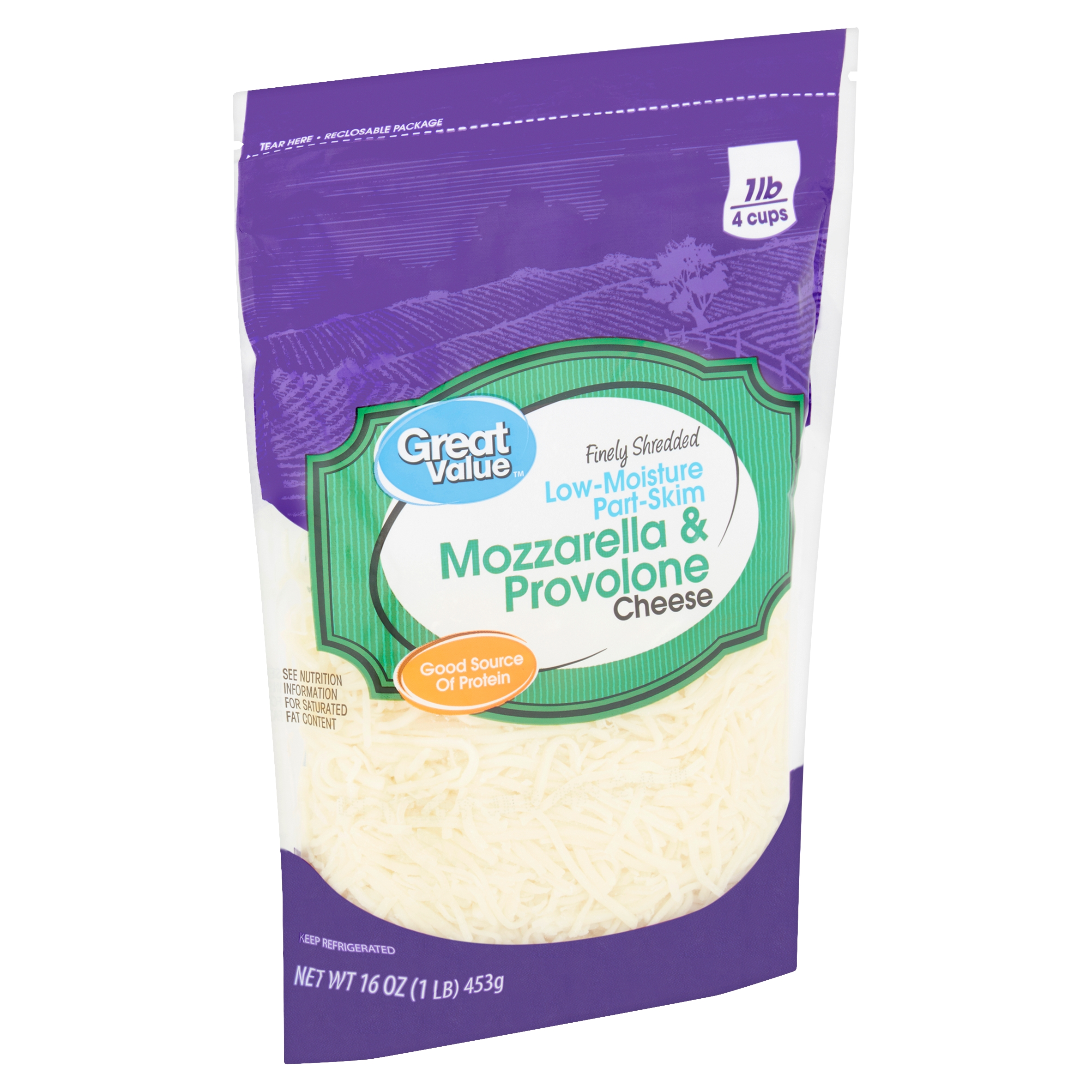 Great Value Finely Shredded Low-Moisture Part-Skim Mozzarella & Provolone Cheese, 16 oz