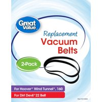 Great Value Replacement Vacuum Belts, For Hoover WindTunnel 160 and Dirt Devil 22, 2 Count