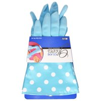 Glam Gloves Blue Polka Dot Latex Dishwashing Gloves, 1 Pair