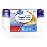 Great Value BPA Free Take Outs Storage Containers, Entree, 25 fl oz, 5 Count