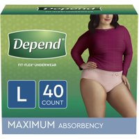 Depend Fit-Flex Incontinence Underwear for Women, Maximum Absorbency, Large, Light Pink, 40 Count