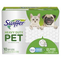 Swiffer Heavy Duty Pet, Dry Sweeping Cloth Refills with Febreze Odor Defense, 10 Count