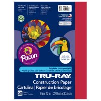 Pacon Tru-Ray 9' x 12' Sulphite Construction Festive Red Paper, 30 Count