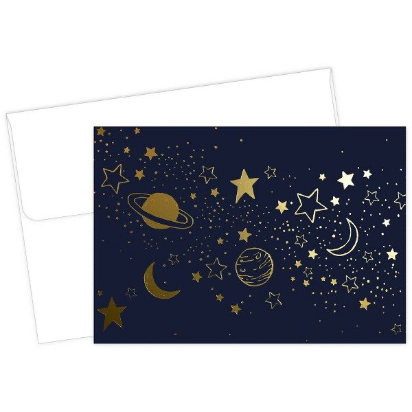 50ct Cosmic Night Gold Foil Note Card & Envelopes