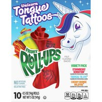 Roll-Ups Fruit Flavored Snacks, Strawberry Sensation/Tropical Tie-Dye/Cherry Orange Wildfire, Unicorn Tongue Tattoos, Variety Pack