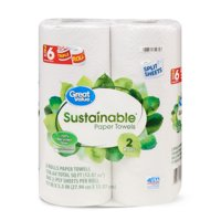 Great Value Sustainable Paper Towels, Split Sheets, 2 Triple Rolls