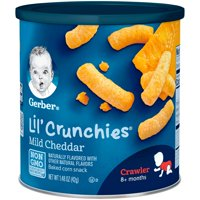 Gerber Lil Crunchies Baked Whole Grain Corn Snack Mild Cheddar 1.48 oz. Canister