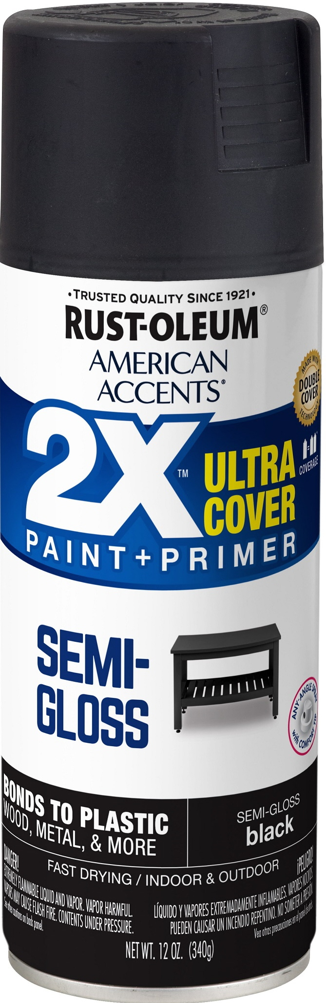 (3 Pack) Rust-Oleum American Accents Ultra Cover 2X Semi-Gloss Black Spray Paint and Primer in 1, 12 oz
