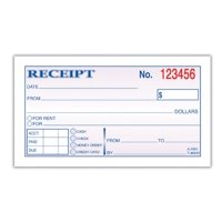 Adams Money and Rent Receipt 2-3/4 x 5-3/8 Inches 2-Parts Carbonless White/Canary 50 Sets per Book (DC2501)