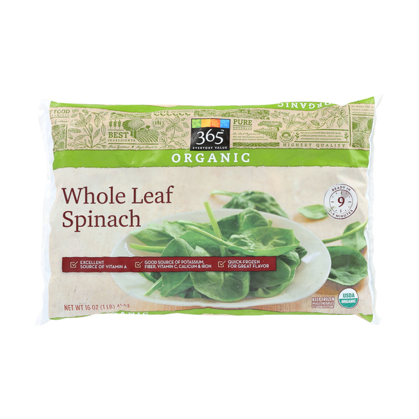 365 everyday value® Organic Whole Leaf Spinach, 16 oz