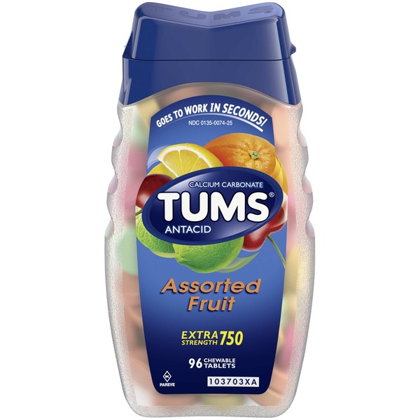 Tums Antacid, Extra Strength 750, Assorted Fruit, Chewable Tablets