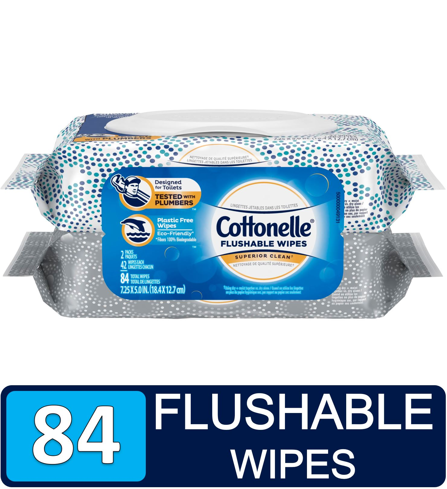 Cottonelle FreshCare Flushable Flushable Wipes, 2 Flip-Top Packs, 42 Wipes Per Pack (84 Total Wipes)