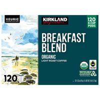 Kirkland Signature Breakfast Blend Organic K-Cup Pods, 120 ct