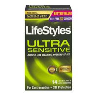 LifeStyles Ultra Sensitive Latex Condoms Lubricated - 14 CT