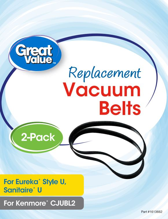 Great Value Replacement Vacuum Belts, For Eureka Style U, Sanitaire U, and Kenmore CJUBL2, 2 Count