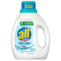 all Liquid Laundry Detergent, Free Clear with Odor Relief, 20 Loads