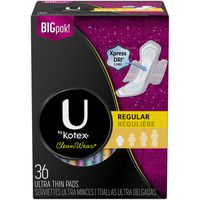 U by Kotex-Super Premium CleanWear Ultra Thin Pads with Wings, Regular, Fragrance-Free