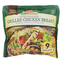 H-E-B Fully Cooked Sliced  Boneless Skinless With Rib Meat Grilled Chicken Breasts