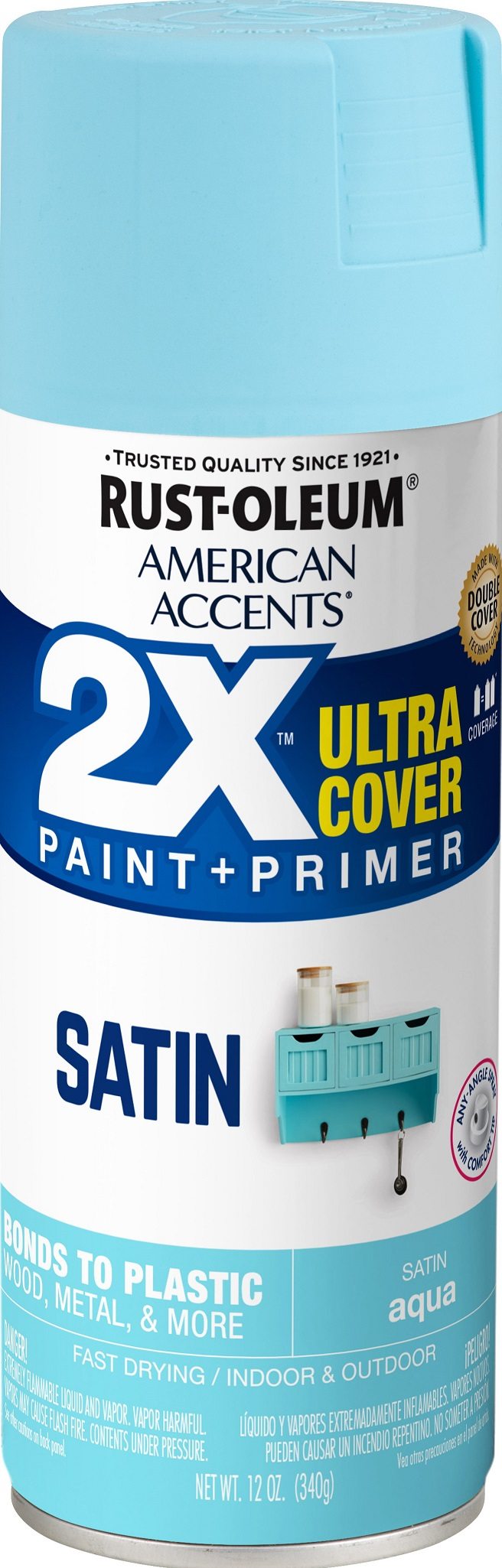 (3 Pack) Rust-Oleum American Accents Ultra Cover 2X Satin Aqua Spray Paint and Primer in 1, 12 oz