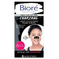 Biore Charcoal Deep Cleansing Pore Strips Pore - 6ct