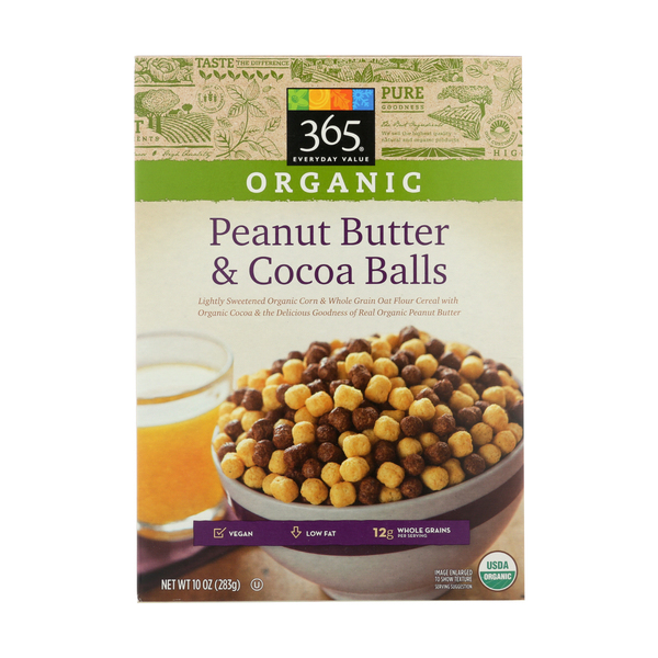 365 everyday value® Organic Peanut Butter & Cocoa Balls Cereal, 10 oz